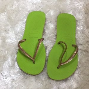 Havaianas Flip Flop Lime Green And Gold